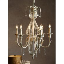 Distressed Ivory 6-Light Chandelier. 60W Max. Hardwire Only.