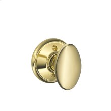 Siena Knob Non-turning Lock - Bright Brass