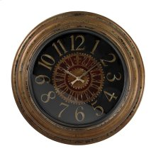 LARGE CLOCK WTH DISTRESSED HANDPAINTED FRAME