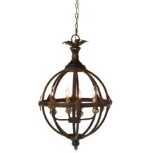 Distressed Black Sphere 4-Light Pendant. 60W Max. Hard Wire Only.