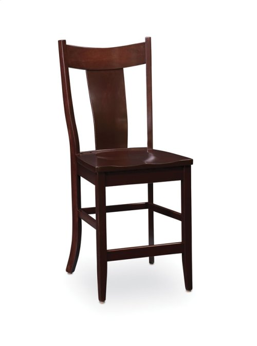 Arnold Stationary Barstool, Leather Cushion Seat