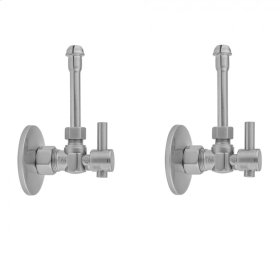 "Pewter - Quarter Turn Angle Pattern 5/8"" O.D. Compression (Fits 1/2"" Copper) x 3/8"" O.D. Faucet Supply Kit with Contempo Lever Handle, 20"" Supply Tubes, Escutcheons"