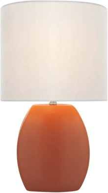 Ceramic Table Lamp, Orange/white Fabric Shade, E27 Cfl 13w