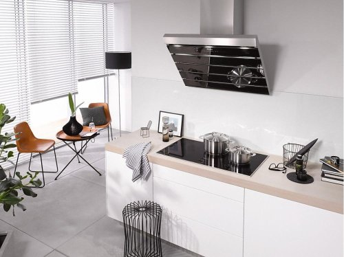 DA 6796 W Shape Wall ventilation hood with energy-efficient LED lighting and touch controls for simple operation.