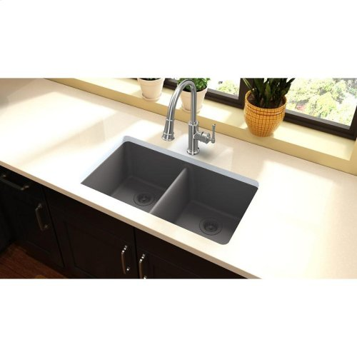 "Elkay Quartz Classic 33"" x 18-1/2"" x 9-1/2"", Equal Double Bowl Undermount Sink, Greystone"