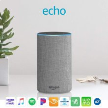 Echo (2nd Generation) - Smart speaker with Alexa - Heather Gray Fabric