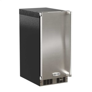 """Marvel15"""" Clear Ice Machine with Tri-Color Illuminice Lighting - Solid Stainless Steel Door, Integrated Left Hinge, Professional Handle"""