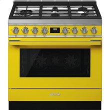 """Portofino Pro-Style Gas Range, Yellow, 36"""" x 25"""""""