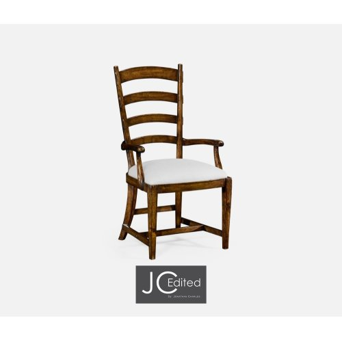 French Ladderback Style Carver Armchair, Upholstered in COM