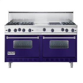"""Cobalt Blue 60"""" Open Burner Commercial Depth Range - VGRC (60"""" wide, six burners 12"""" wide griddle/simmer plate 12"""" wide char-grill)"""