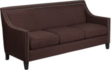 HERCULES Compass Series Transitional Brown Fabric Sofa with Walnut Legs