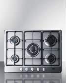 """5-burner Gas Cooktop Made In Italy In A Stainless Steel Finish With Sealed Burners, Cast Iron Grates, and Wok Stand; Fits Standard 24"""" Wide Cutouts Product Image"""