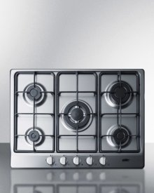 "5-burner Gas Cooktop Made In Italy In A Stainless Steel Finish With Sealed Burners, Cast Iron Grates, and Wok Stand; Fits Standard 24"" Wide Cutouts"