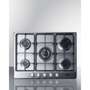 "Summit5-burner Gas Cooktop Made In Italy In A Stainless Steel Finish With Sealed Burners, Cast Iron Grates, and Wok Stand; Fits Standard 24"" Wide Cutouts"