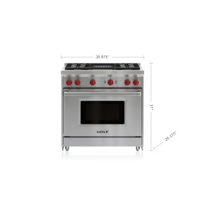 "Wolf36"" Gas Range - 4 Burners and Infrared Charbroiler"