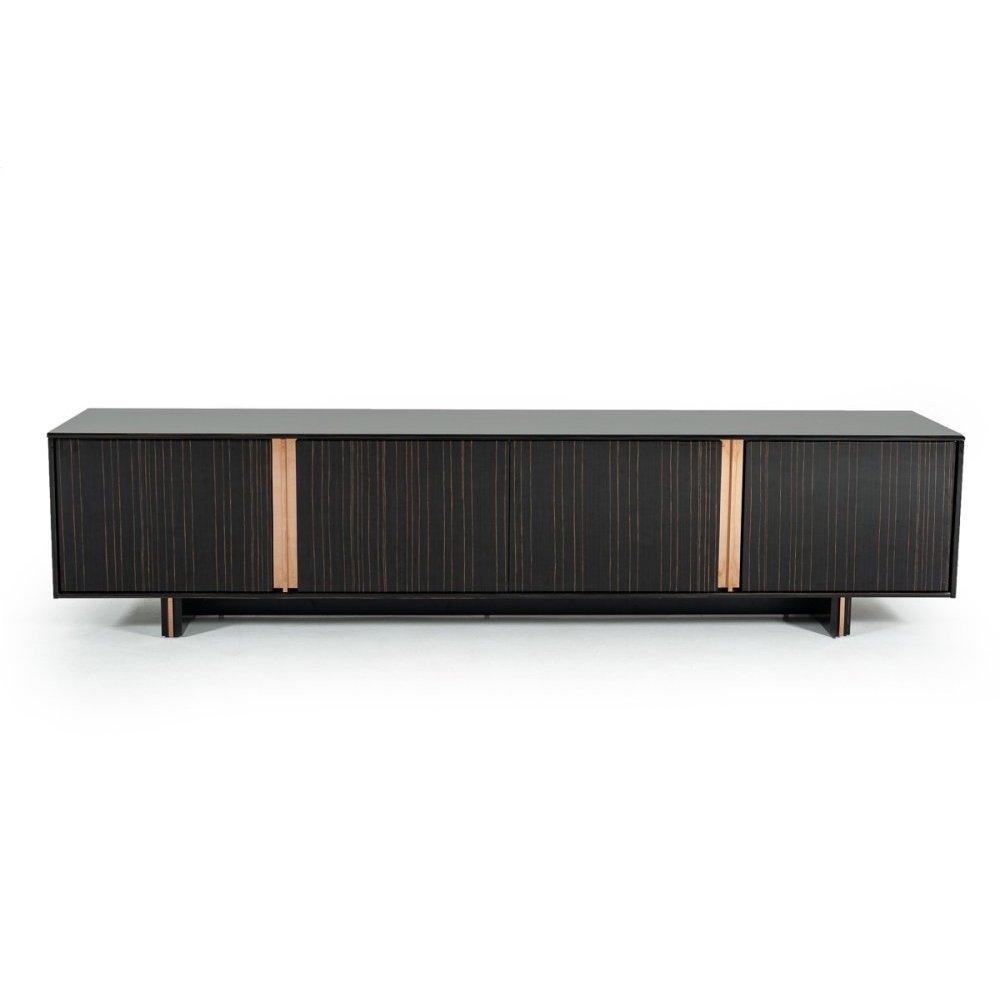 Modrest Chadwick Modern Ebony & Rosegold TV Stand