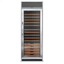 "Stainless Steel 30"" Full-Height Wine Cellar - DDWB (Right Hinge Fluted Door, Designer handle)"