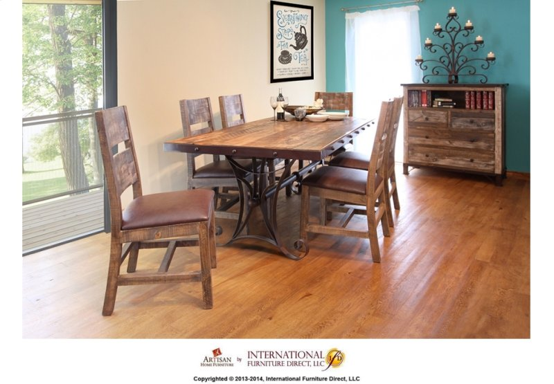 Hidden Additional 79 Dining Table W Iron Base
