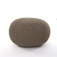 Jute Knit Pouf-clay