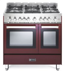 "Burgundy 36"" Gas Double Oven Range - 'N' Series"