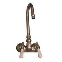 Clawfoot Tub Filler - Code Spout, Lever Porcelain Handles - Brushed Nickel