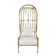 "Metal 72"" Throne Chair, Gold"