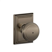 Andover Knob with Addison trim Bed & Bath Lock - Antique Pewter