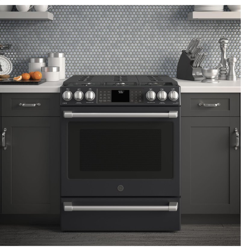 Ge Café Series 30 Slide In Front Control Range With Warming Drawer