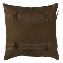 Antique Canvas Pillow with Double Strap and Faux Leather Accents