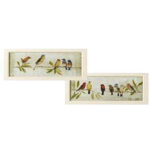Framed Bird on Branch Wall Decor (2 asstd)