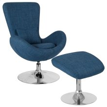 Egg Series Blue Fabric Side Reception Chair with Ottoman