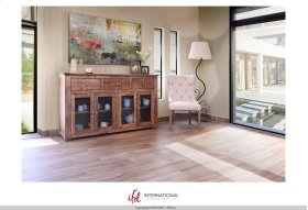 """70"""" Console w/3 Drawer, 4 Glass Doors"""