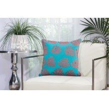 "Outdoor Pillow L1520 Turquoise/coral 18"" X 18"" Throw Pillow"