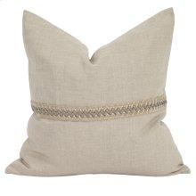 "20"" x 20"" Pillow Prairie Linen w/ Deco Trim - Down Insert"