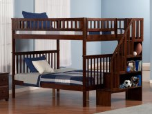 Woodland Staircase Bunk Bed Full over Full in Walnut