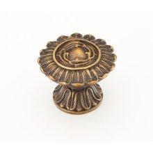 "Solid Brass, Symphony, Round Knob, 2"" diameter, Dark Italian Antique finish"