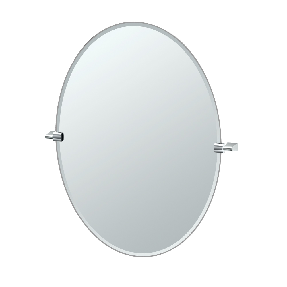 Bleu Oval Mirror in Chrome