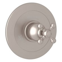 Satin Nickel Arcana Integrated Volume Control Pressure Balance Trim Without Diverter with Arcana Series Only Cross Handle