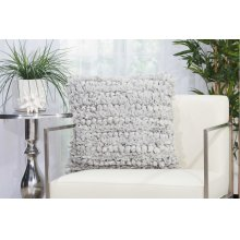 "Shag Dl658 Silver 20"" X 20"" Throw Pillows"