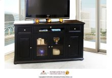 "63"" Black TV Console w/4 doors, 2 drawers & 1 Landscape door"