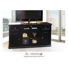 """63"""" Black TV Console w/4 doors, 2 drawers & 1 Landscape door"""