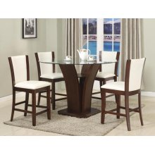 Camelia 5 Piece Round Counter Height Dining Room Set: Table & 4 White Chairs