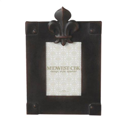 Antique Bronze Fleur de Lis 4x6 Frame.