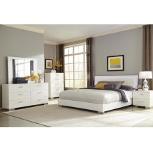 Felicity Contemporary White and High Gloss Eastern King Four-piece Set