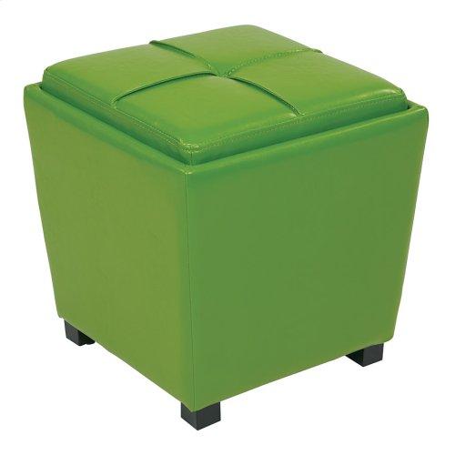 2-piece Green Vinyl Ottoman Set