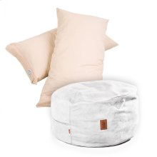 Pillow Pod Footstools - Faux Leather - Ivory