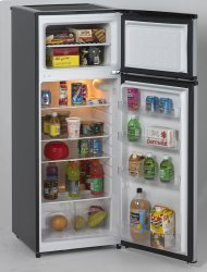 Out of Box Avanti 7.4 CF Two Door Apartment Size Refrigerator - Black w/Platinum Finish