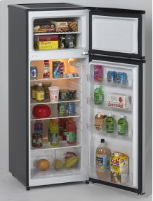7.4 CF Two Door Apartment Size Refrigerator - Black w/Platinum Finish