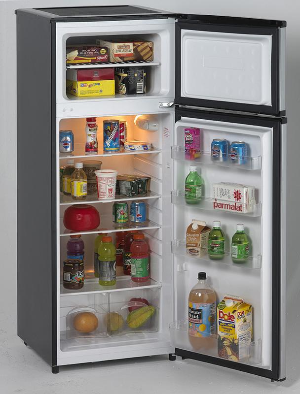 7.4 CF Two Door Apartment Size Refrigerator   Black W/Platinum Finish