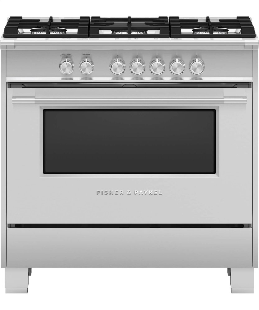 """Gas Range, 36""""  BRUSHED STAINLESS STEEL WITH BLACK GLASS"""